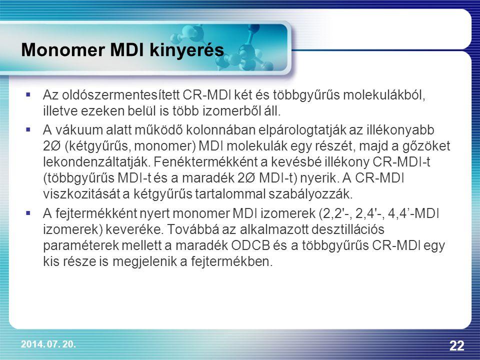 Monomer MDI kinyerés Az oldószermentesített CR-MDI két és többgyűrűs molekulákból, illetve ezeken belül is több izomerből áll.