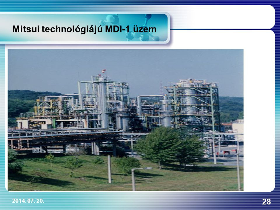 Mitsui technológiájú MDI-1 üzem