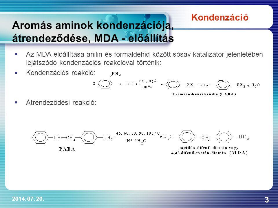 Aromás aminok kondenzációja, átrendeződése, MDA - előállítás