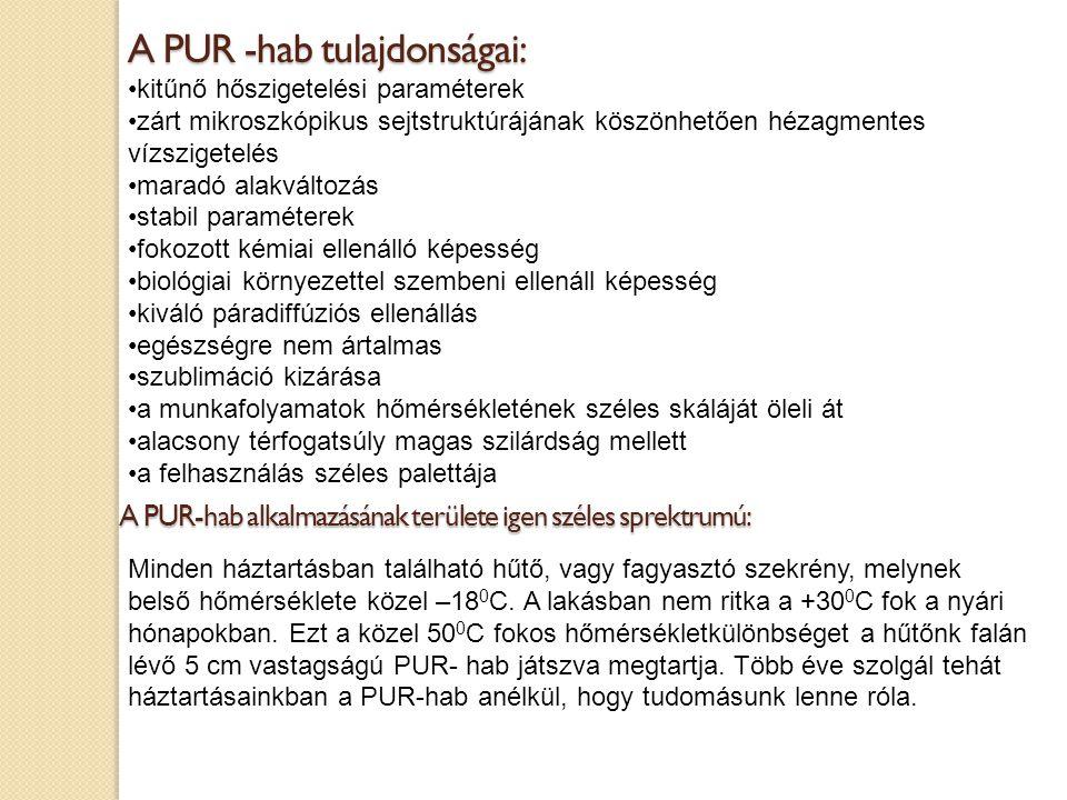 A PUR -hab tulajdonságai: