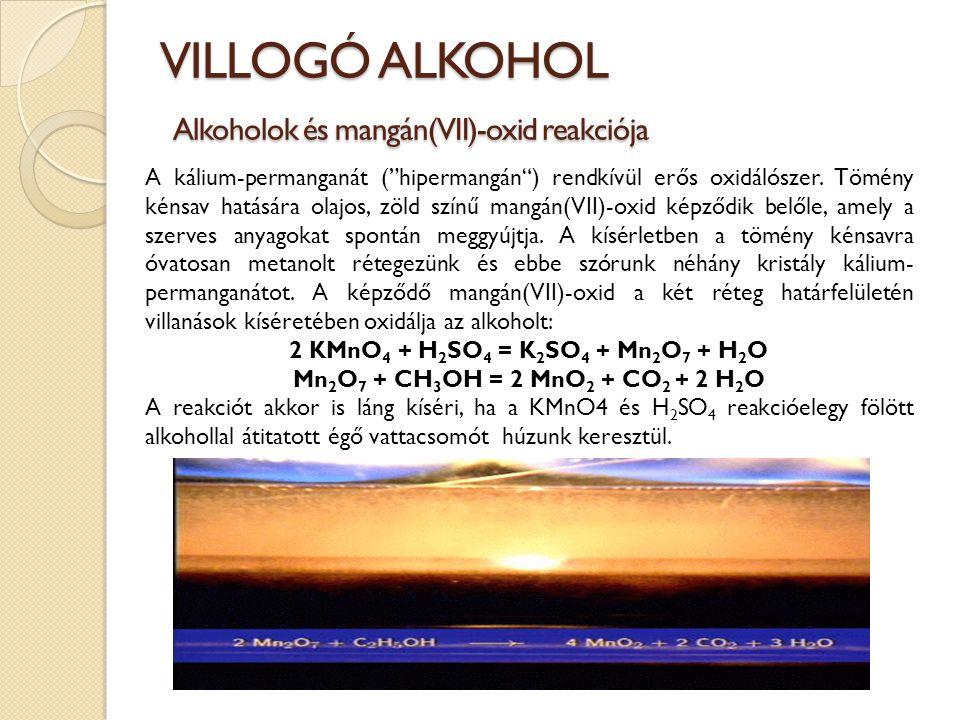 VILLOGÓ ALKOHOL Alkoholok és mangán(VII)-oxid reakciója