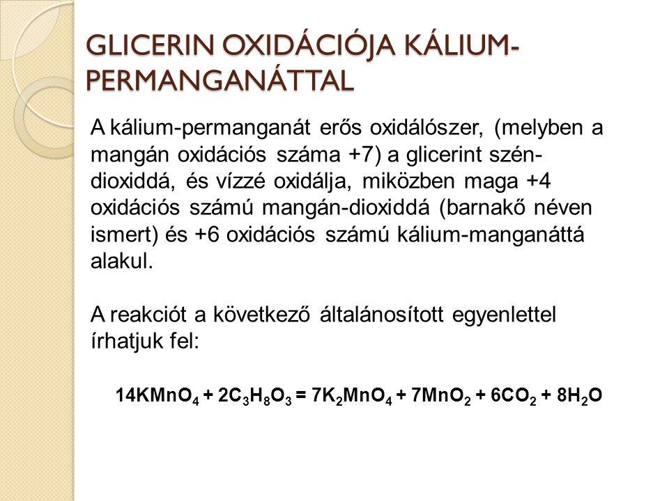 GLICERIN OXIDÁCIÓJA KÁLIUM-PERMANGANÁTTAL