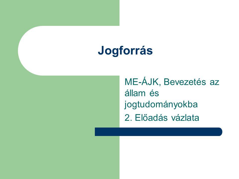 ME-ÁJK, Bevezetés az állam és jogtudományokba 2. Előadás vázlata
