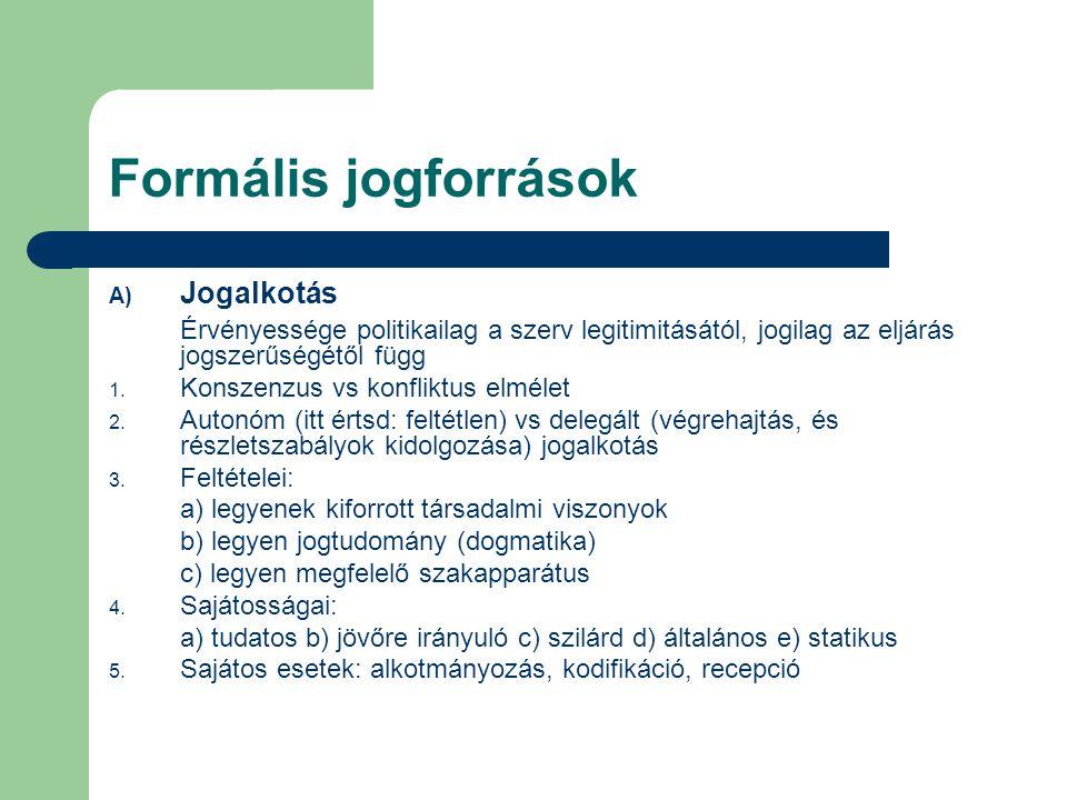 Formális jogforrások Jogalkotás