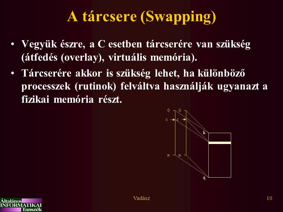 A tárcsere (Swapping) Vegyük észre, a C esetben tárcserére van szükség (átfedés (overlay), virtuális memória).