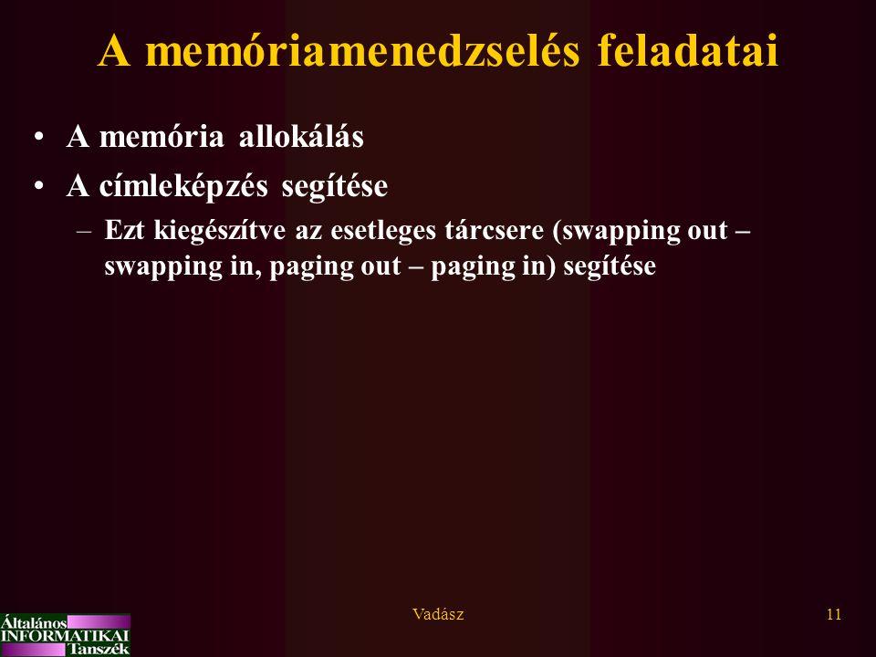 A memóriamenedzselés feladatai