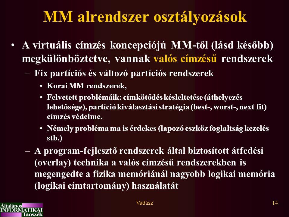 MM alrendszer osztályozások