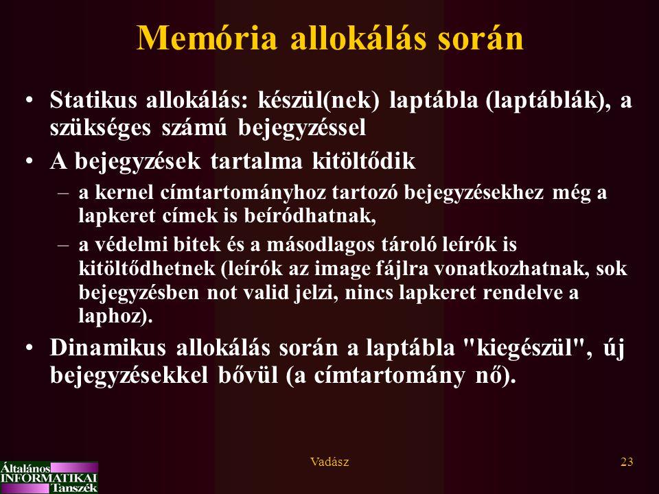 Memória allokálás során