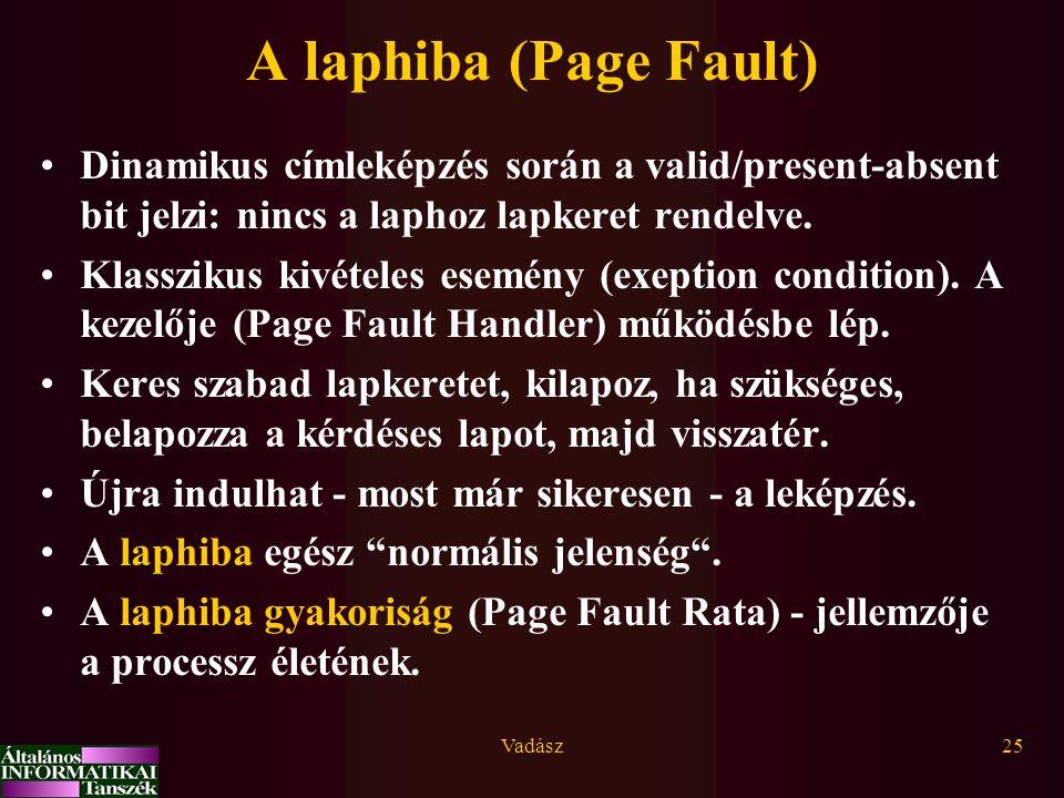 A laphiba (Page Fault) Dinamikus címleképzés során a valid/present-absent bit jelzi: nincs a laphoz lapkeret rendelve.