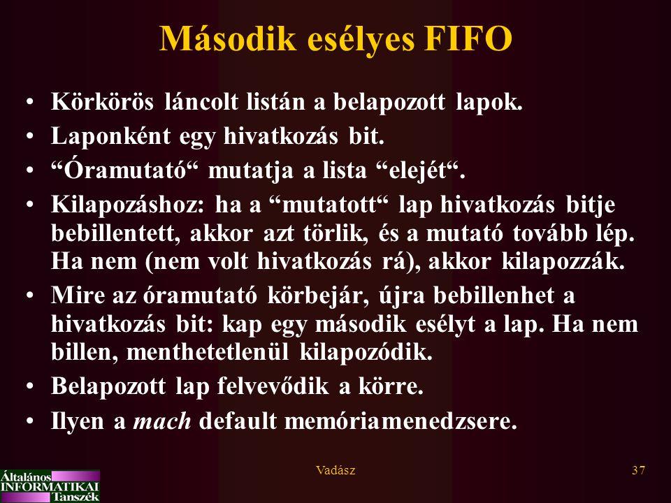 Második esélyes FIFO Körkörös láncolt listán a belapozott lapok.