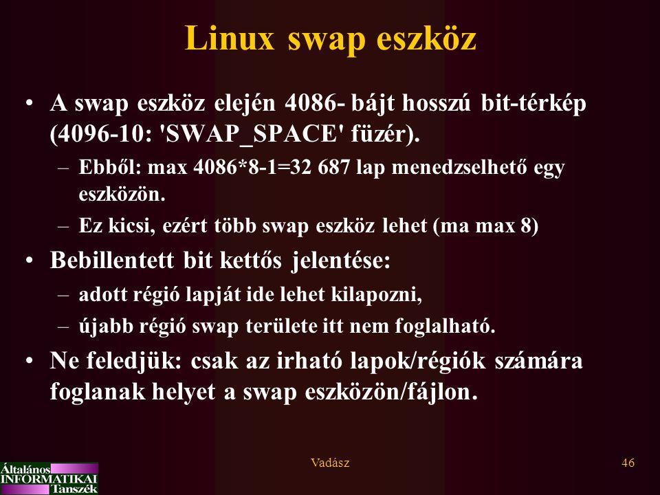 Linux swap eszköz A swap eszköz elején 4086- bájt hosszú bit-térkép (4096-10: SWAP_SPACE füzér).