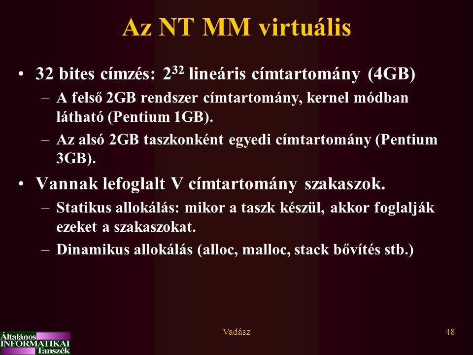 Az NT MM virtuális 32 bites címzés: 232 lineáris címtartomány (4GB)