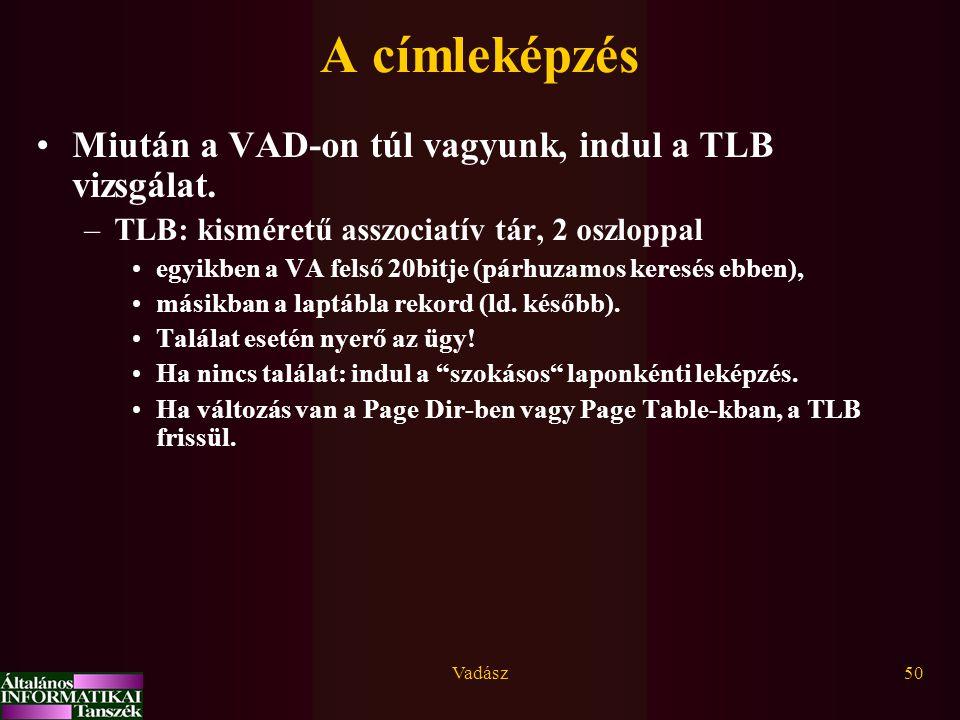 A címleképzés Miután a VAD-on túl vagyunk, indul a TLB vizsgálat.