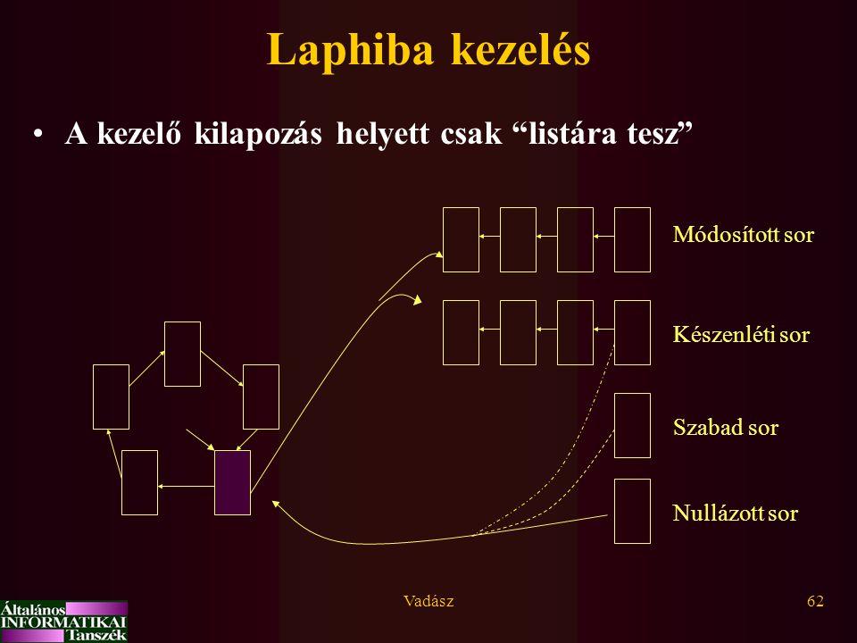 Laphiba kezelés A kezelő kilapozás helyett csak listára tesz
