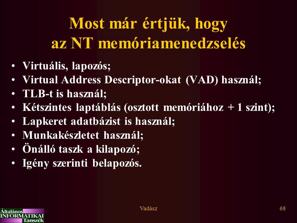 Most már értjük, hogy az NT memóriamenedzselés