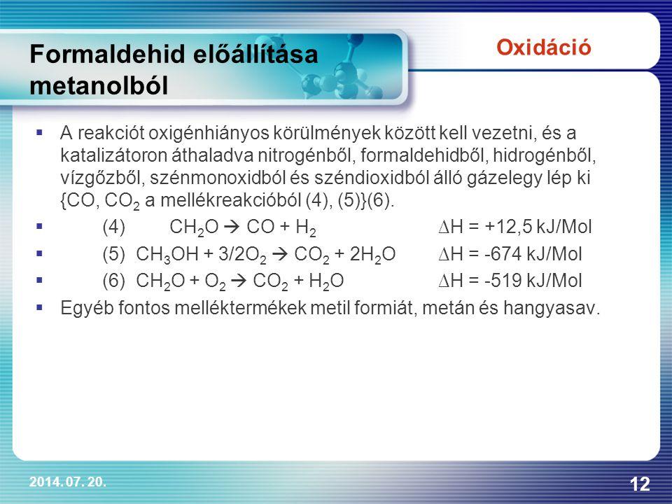 Formaldehid előállítása metanolból