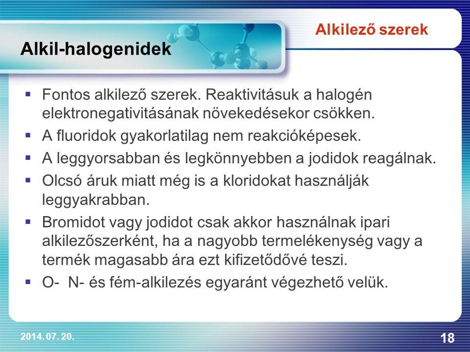 Alkil-halogenidek Alkilező szerek