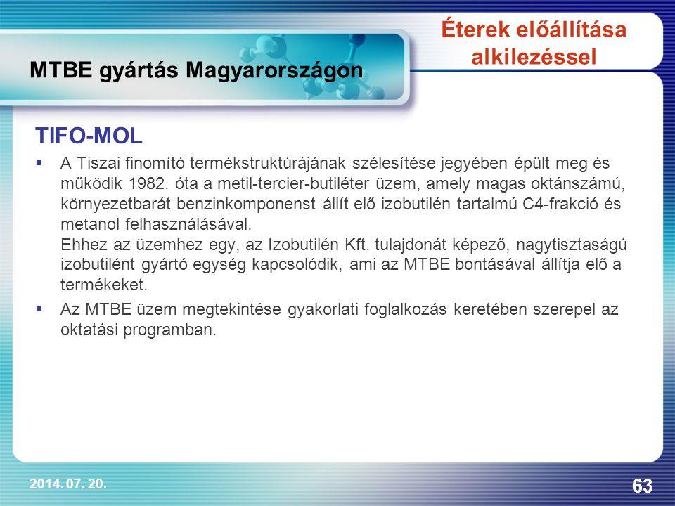 MTBE gyártás Magyarországon