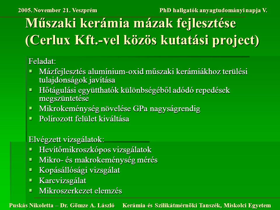 Műszaki kerámia mázak fejlesztése (Cerlux Kft