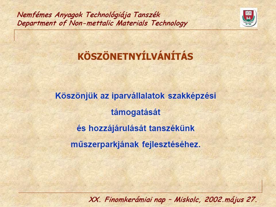Nemfémes Anyagok Technológiája Tanszék Department of Non-mettalic Materials Technology