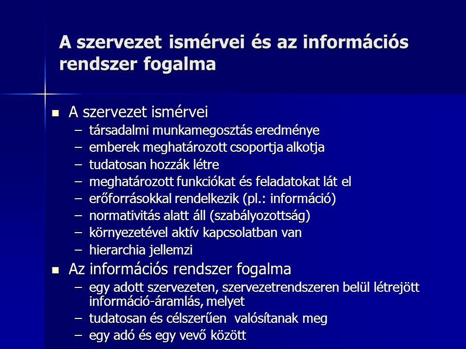 A szervezet ismérvei és az információs rendszer fogalma