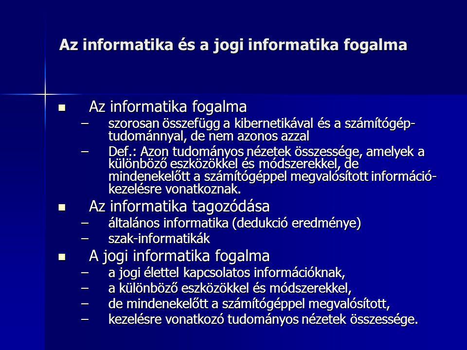 Az informatika és a jogi informatika fogalma