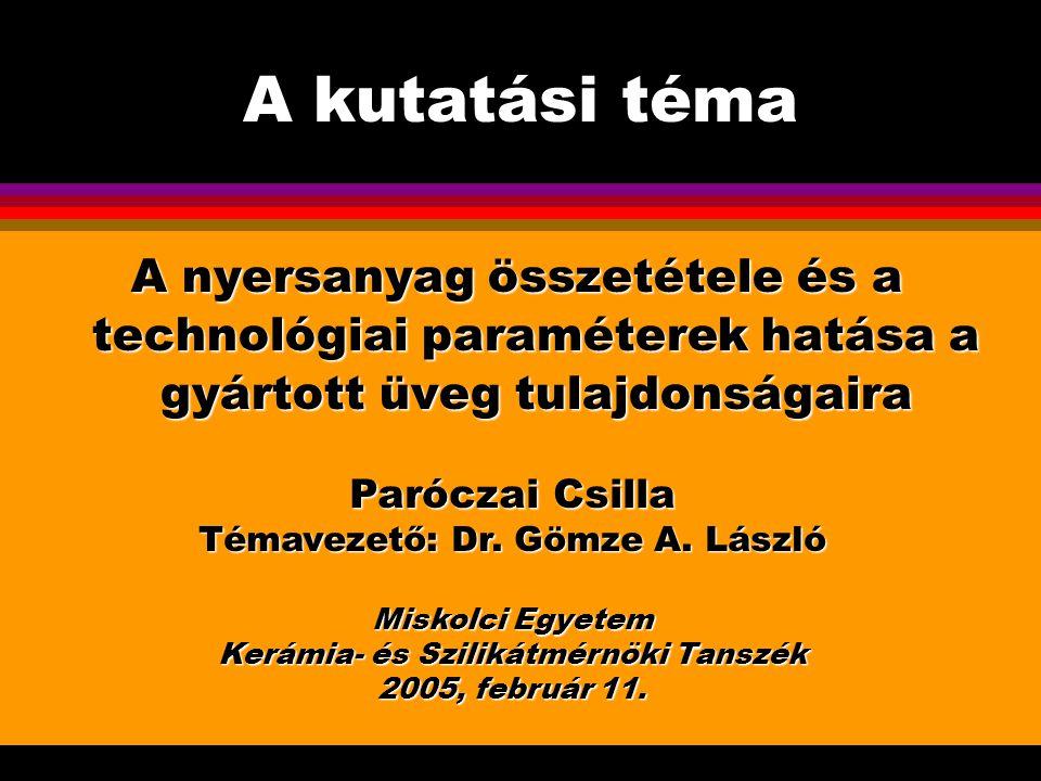 Miskolc, 2005.február 11. A kutatási téma. A nyersanyag összetétele és a technológiai paraméterek hatása a gyártott üveg tulajdonságaira.