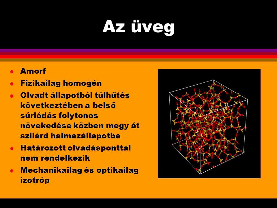 Az üveg Amorf Fizikailag homogén