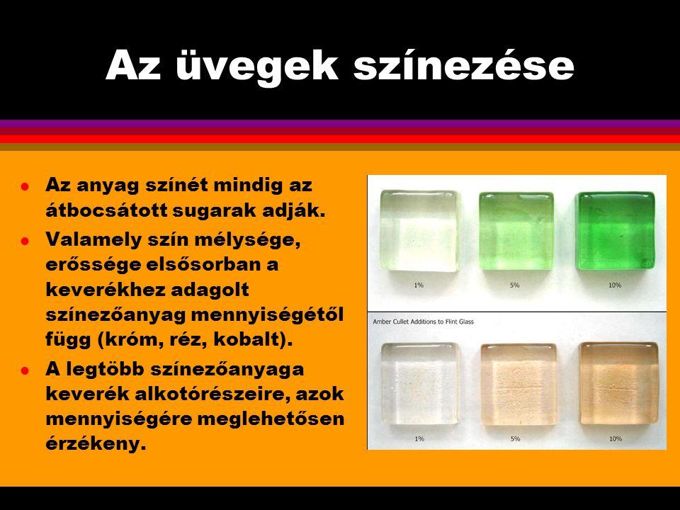 Miskolc, 2005.február 11. Az üvegek színezése. Az anyag színét mindig az átbocsátott sugarak adják.
