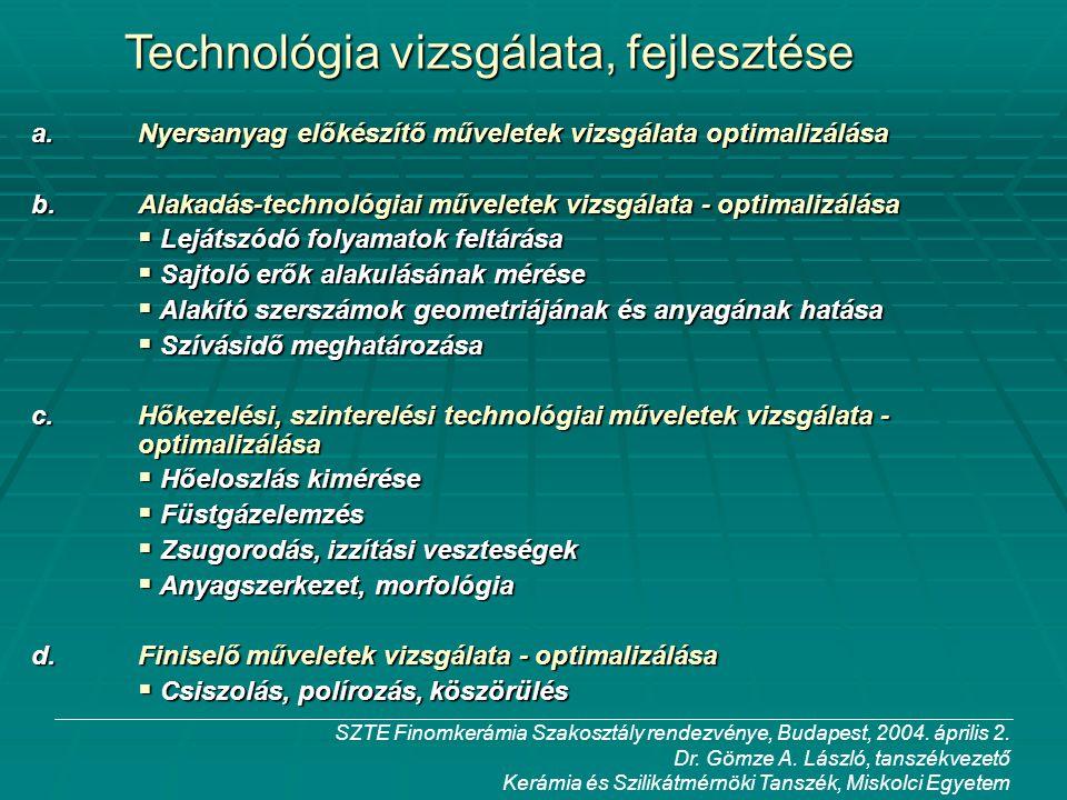 Technológia vizsgálata, fejlesztése