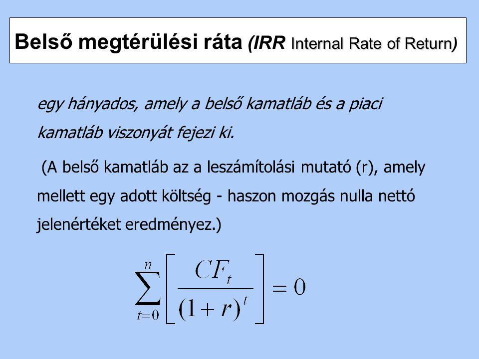Belső megtérülési ráta (IRR Internal Rate of Return)