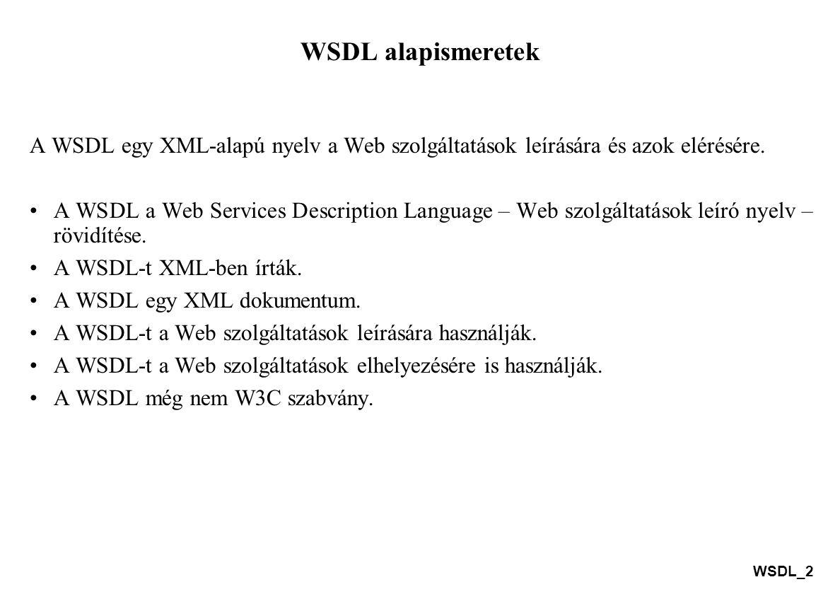 WSDL alapismeretek A WSDL egy XML-alapú nyelv a Web szolgáltatások leírására és azok elérésére.