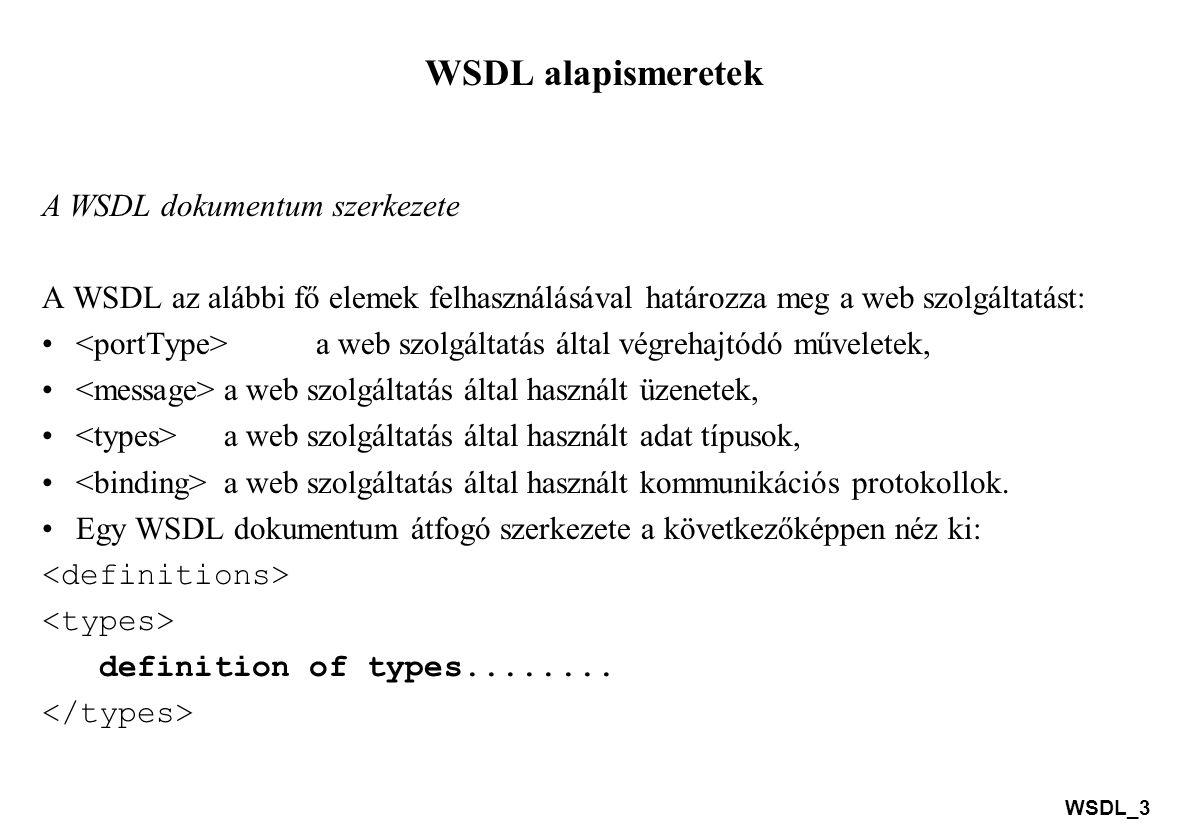 WSDL alapismeretek A WSDL dokumentum szerkezete
