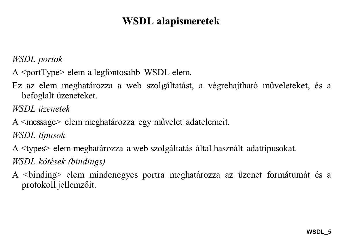 WSDL alapismeretek WSDL portok