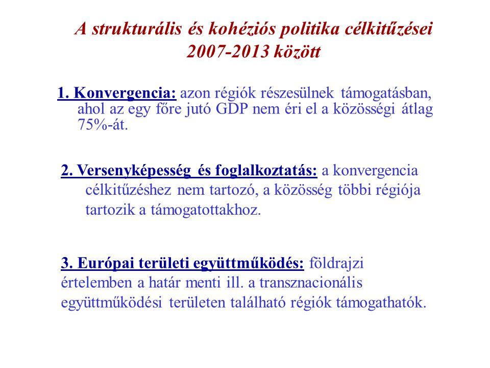 A strukturális és kohéziós politika célkitűzései 2007-2013 között