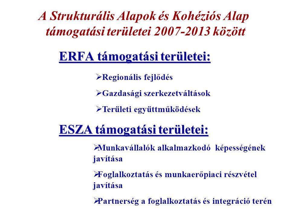 ERFA támogatási területei: