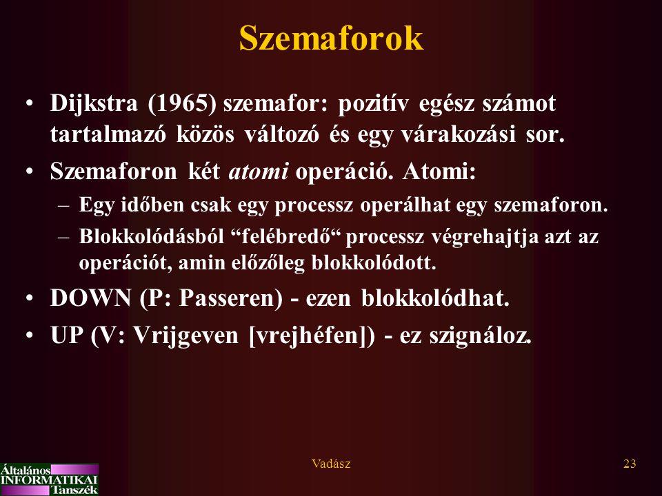 Szemaforok Dijkstra (1965) szemafor: pozitív egész számot tartalmazó közös változó és egy várakozási sor.