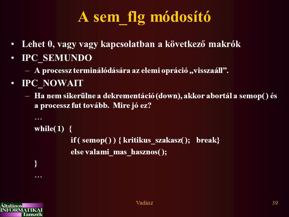 A sem_flg módosító Lehet 0, vagy vagy kapcsolatban a következő makrók