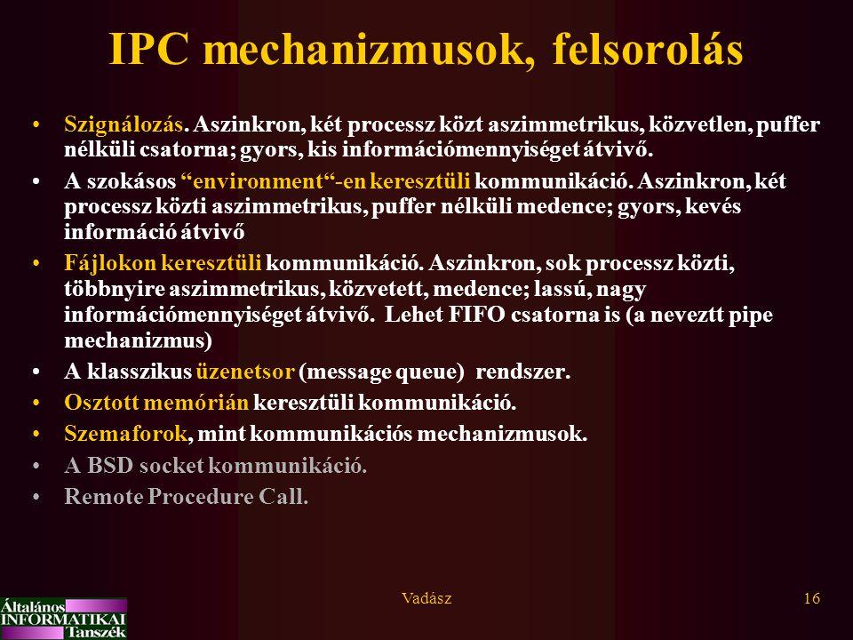 IPC mechanizmusok, felsorolás