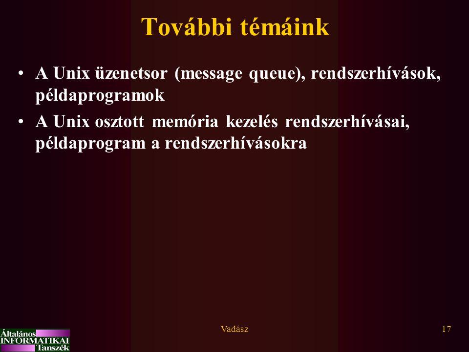 További témáink A Unix üzenetsor (message queue), rendszerhívások, példaprogramok.