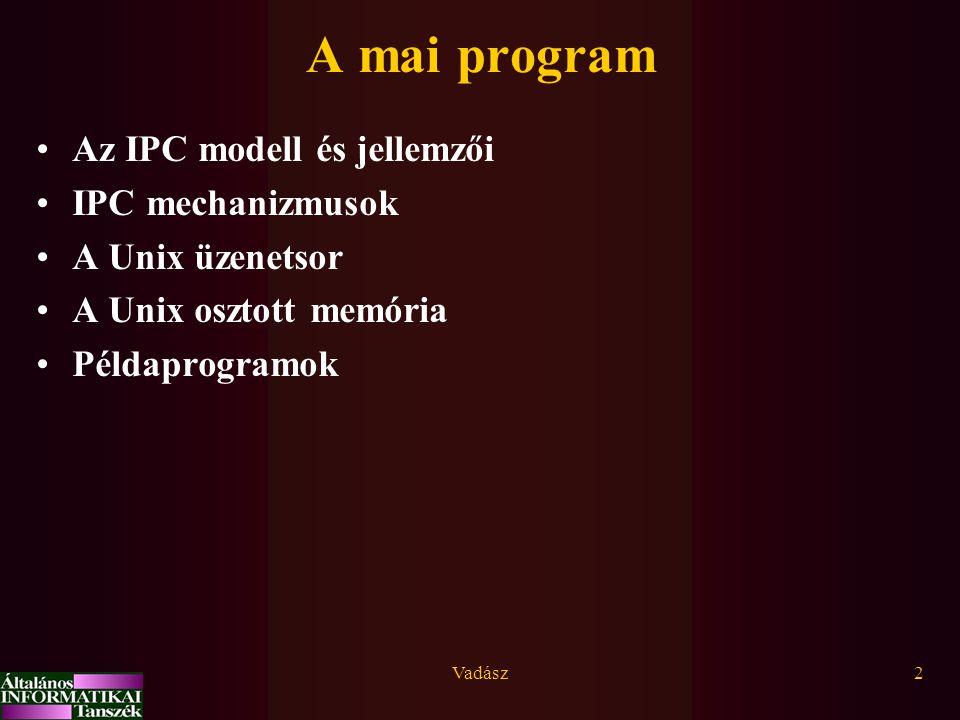 A mai program Az IPC modell és jellemzői IPC mechanizmusok