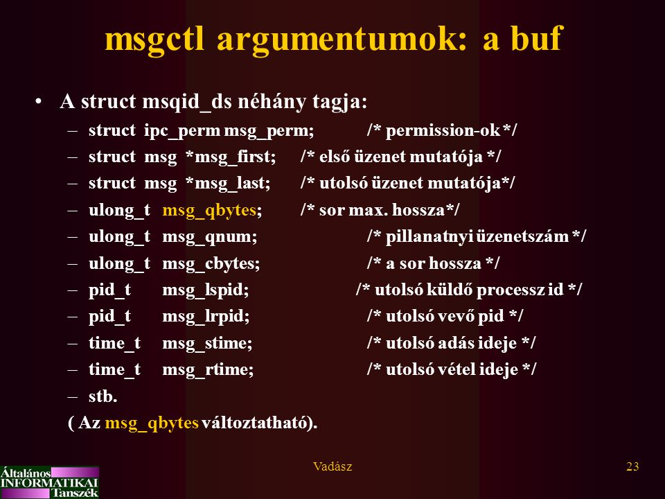 msgctl argumentumok: a buf