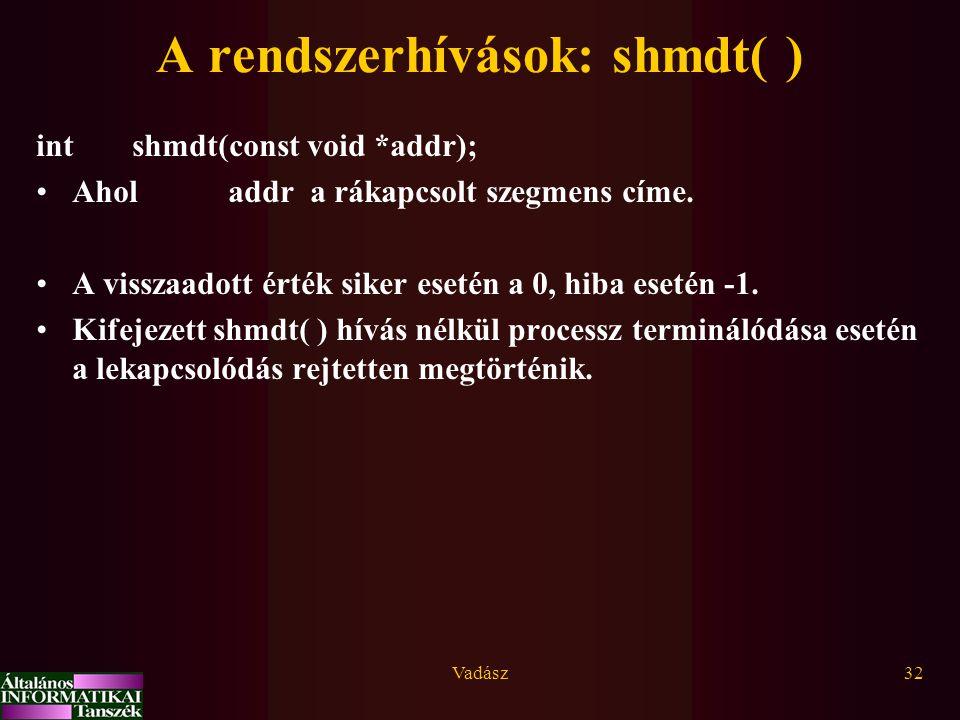 A rendszerhívások: shmdt( )