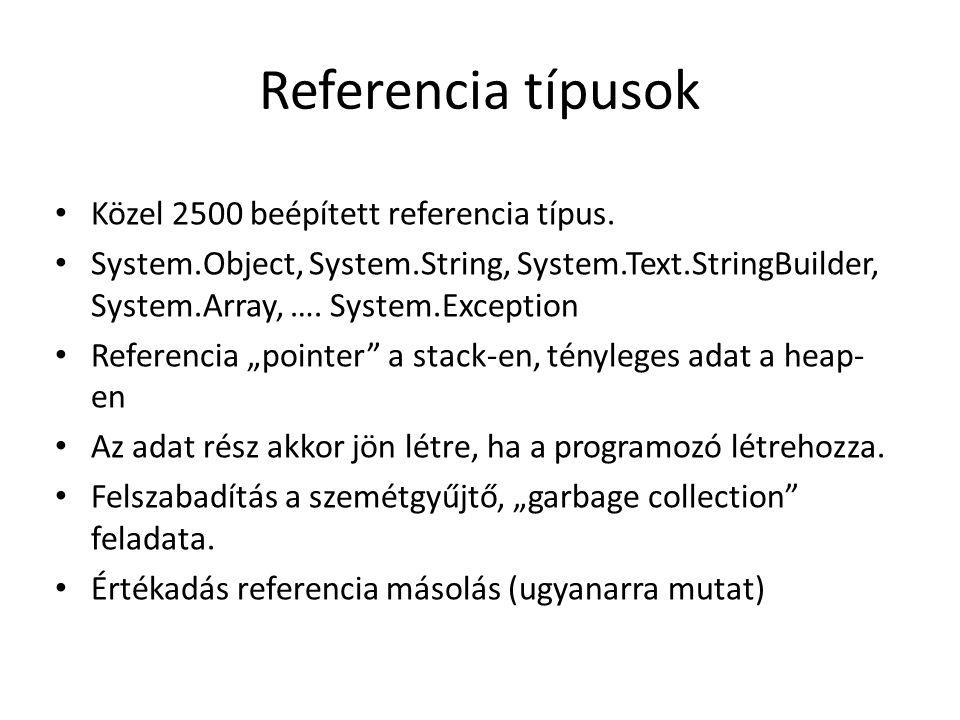 Referencia típusok Közel 2500 beépített referencia típus.