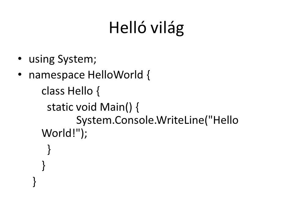 Helló világ using System; namespace HelloWorld { class Hello {