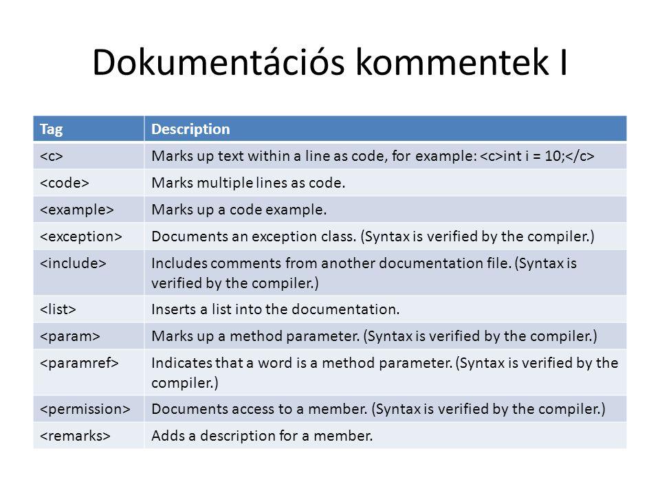 Dokumentációs kommentek I