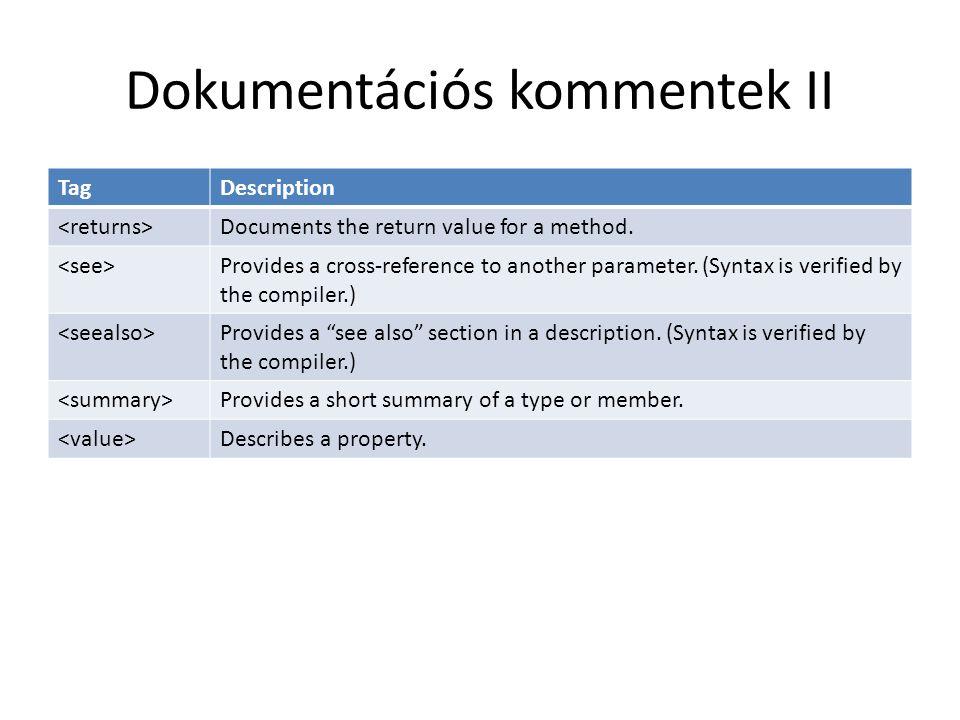 Dokumentációs kommentek II