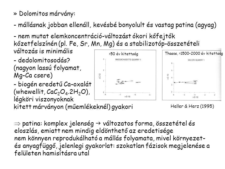 dedolomitosodás (nagyon lassú folyamat, Mg-Ca csere)