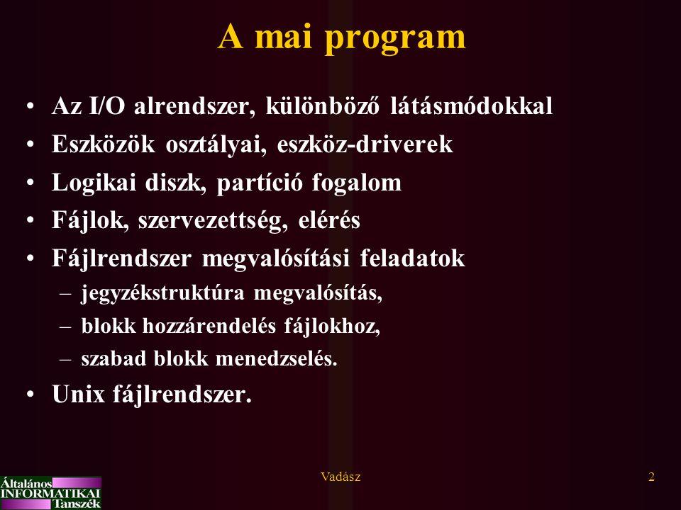 A mai program Az I/O alrendszer, különböző látásmódokkal