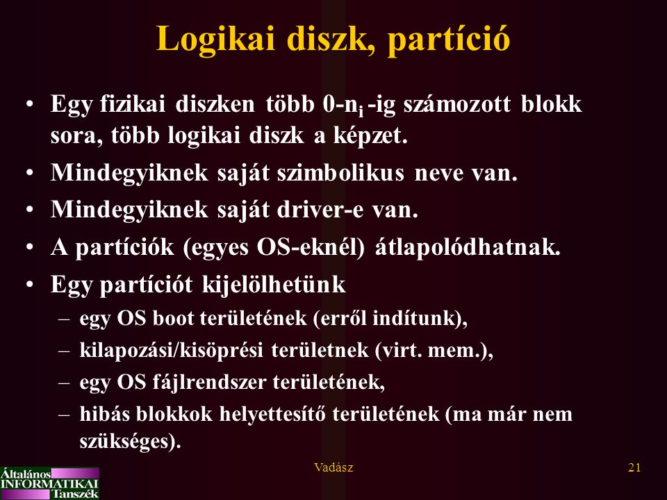 Logikai diszk, partíció